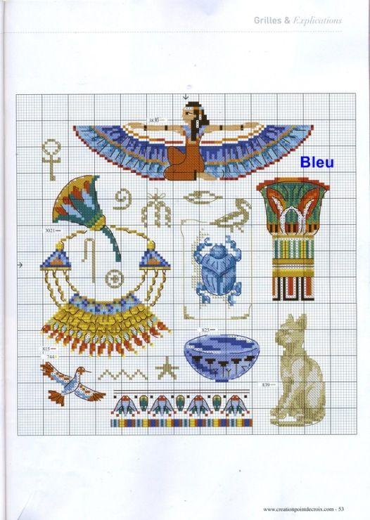 Une grille gratuite sur l 39 egypte loisirs cr atifs travaux manuels point de croix carton - Broderie sur tricot point mousse ...