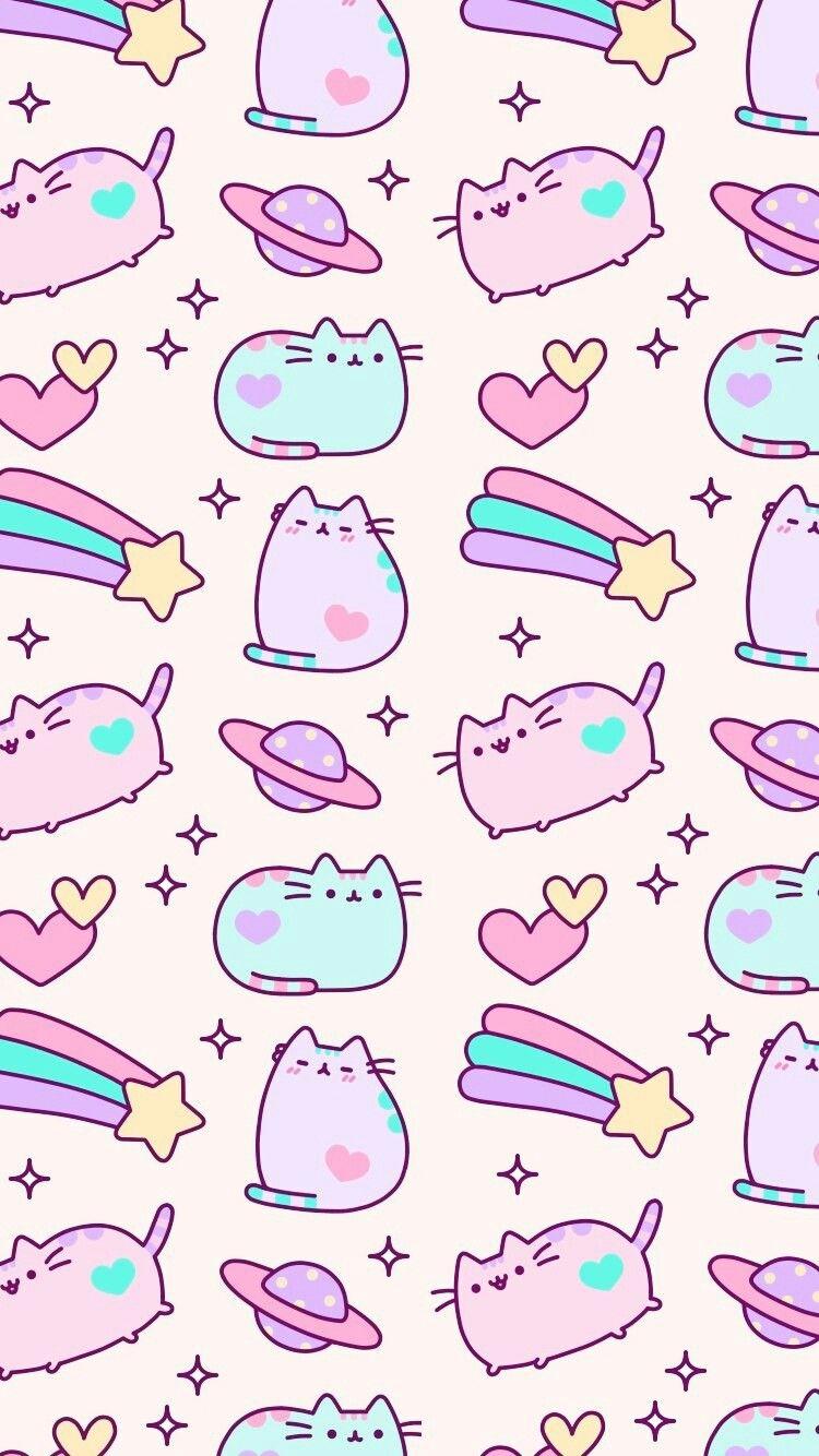 Iphone Backgrounds Wallpaper Wallpapers Samsung Cellphone Kawaii Kids Pusheen Cat Pretty