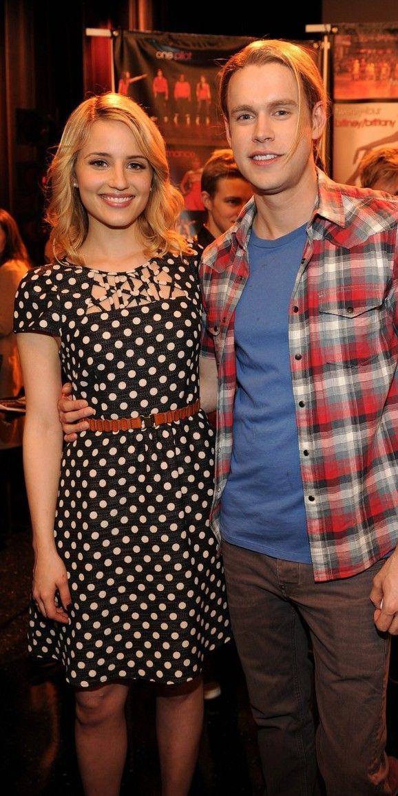 Dianna Agron  e Chord Overstreet na celebração do centésimo episódio da série Glee (26/02/14)