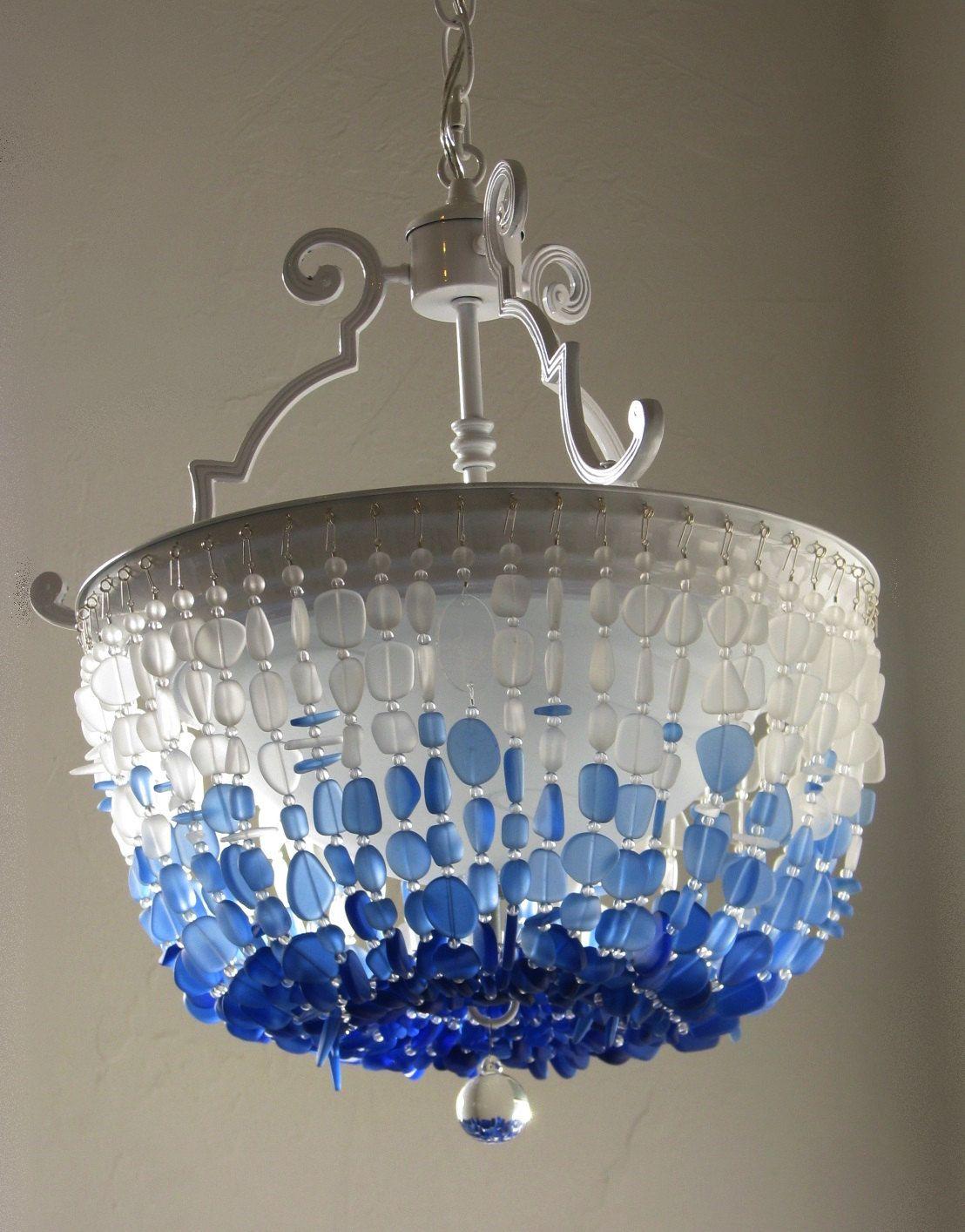 Sea glass chandelier semi flush mount coastal decor beach glass ceiling fixture the nantucket sound by coastalradiancelites on etsy