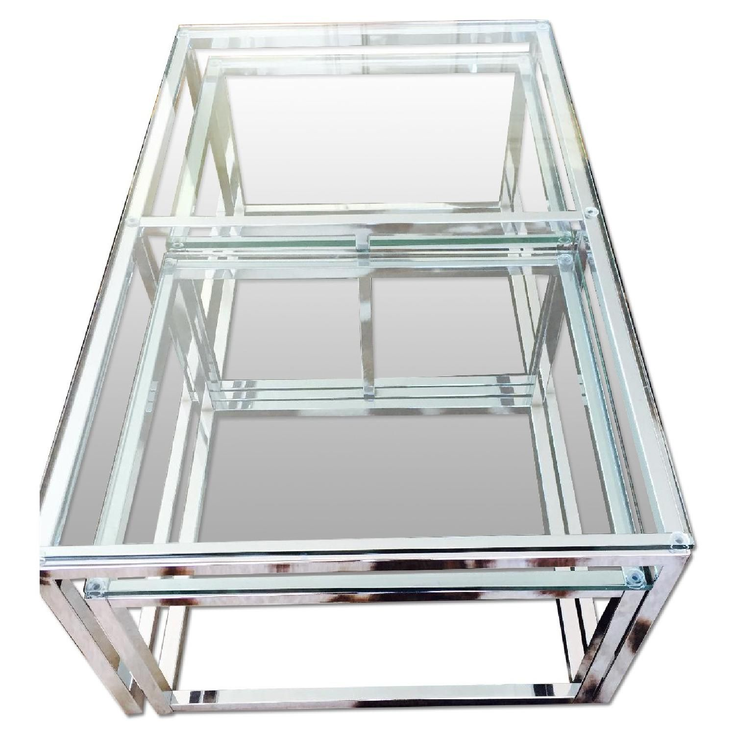 300 Taken Down From 6k Harrods Of London Glass Chrome Coffee Table With Nest