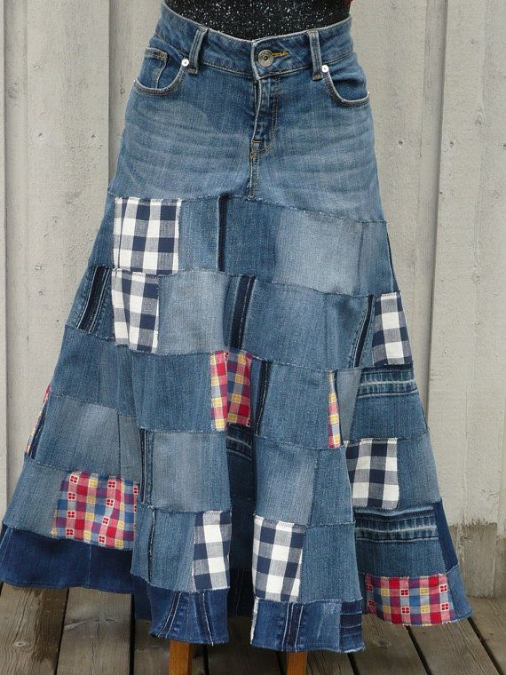 Denim Skirt, Recycled Jeans, Upcycled, Casual Womens Fashion, Patchwork,Hippie patchwork skirt,Boro,Recycled fabrics, eco friendly size L