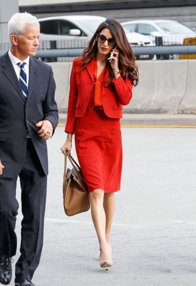 Amal Clooney Wore the Chicest, Coziest Long Grey Dress and