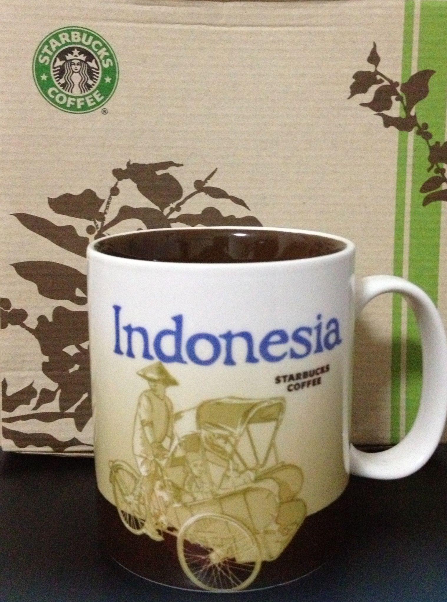 Indonesia Starbucks city mugs, Mugs, Glassware