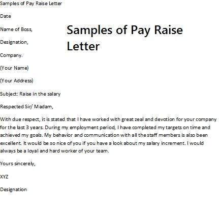 salary increase sample letter