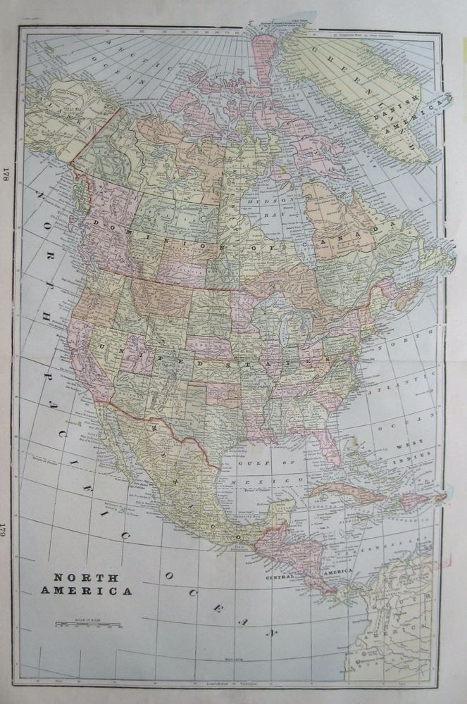 1900 Antique North America Map Travel Gallery Wall Art Vintage: North America Map Wall Art At Usa Maps