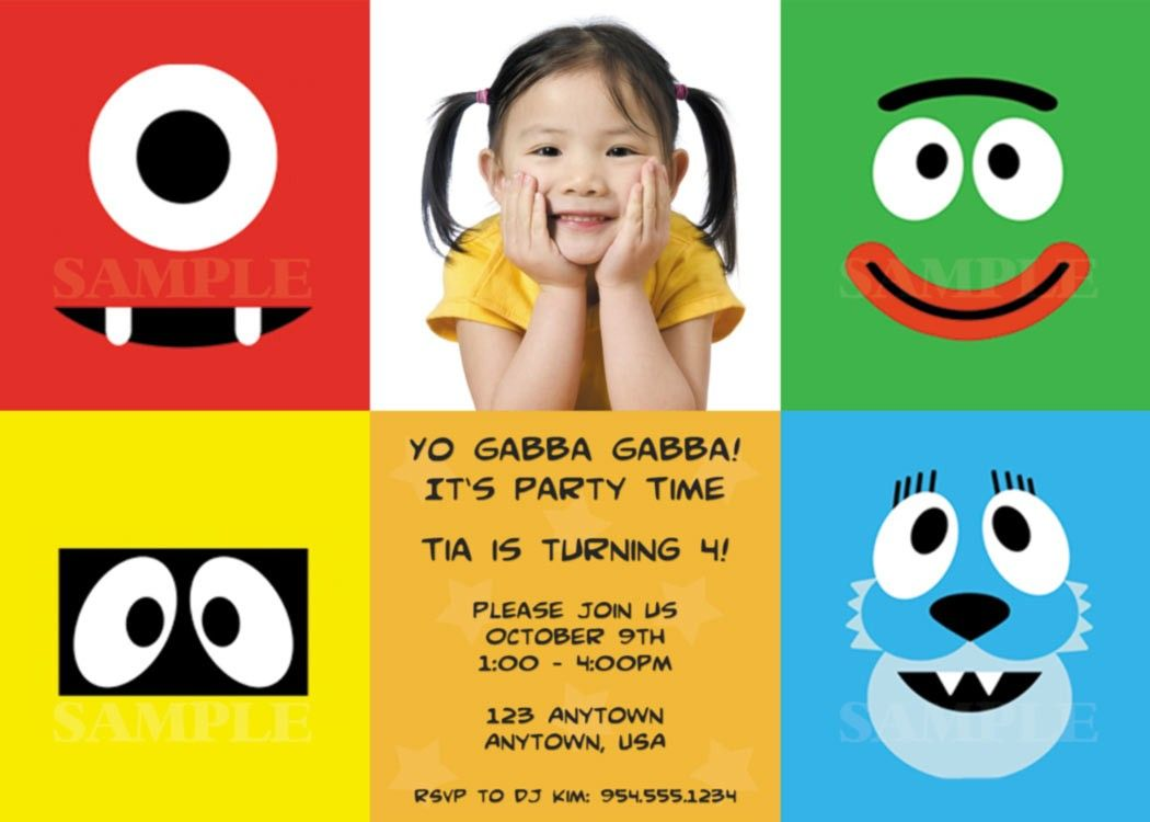 yo gabba gabba invitations templates free | tubby | pinterest, Birthday invitations