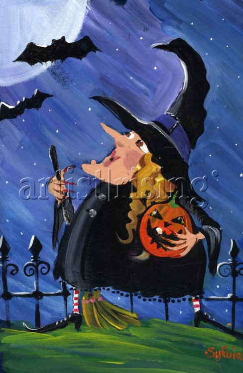 Witch and Bats Halloween Moon Painting at ArtistRising.com