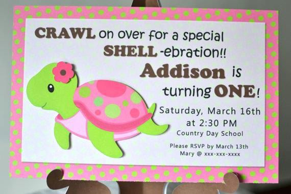Pink Girl TURTLE First Birthday Party Or Baby Shower Invitations