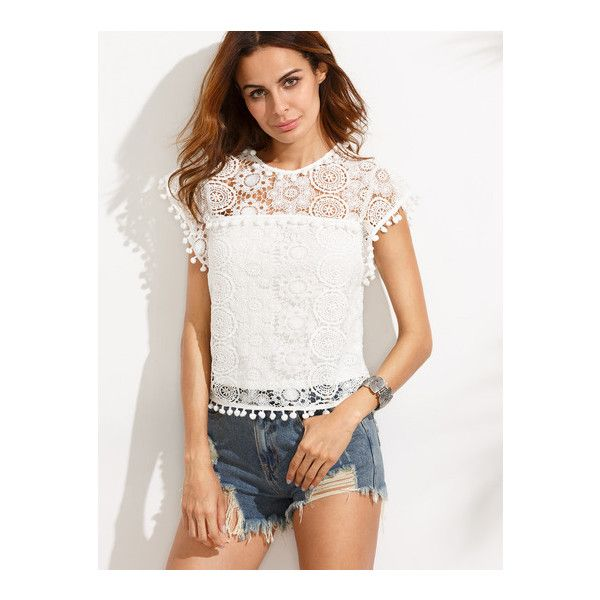 b27b5945276a17 White Pompom Trim Lace Blouse (£17) ❤ liked on Polyvore featuring tops