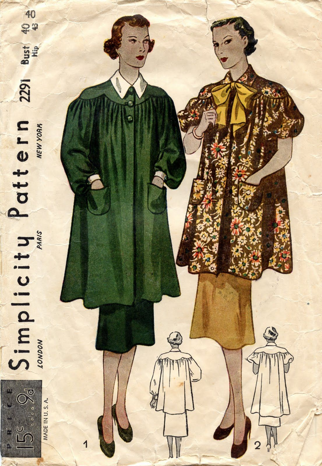 french artist's smock Unsung Sewing Patterns Simplicity
