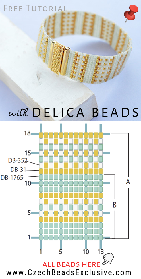 How to Make 'Gold LineBeaded Bracelet' with Miyuki Delica Seed Beads - Easy Tutorial