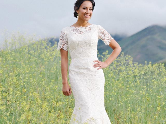 Modest Wedding Dress Crochet Lace Flutter Sleeves