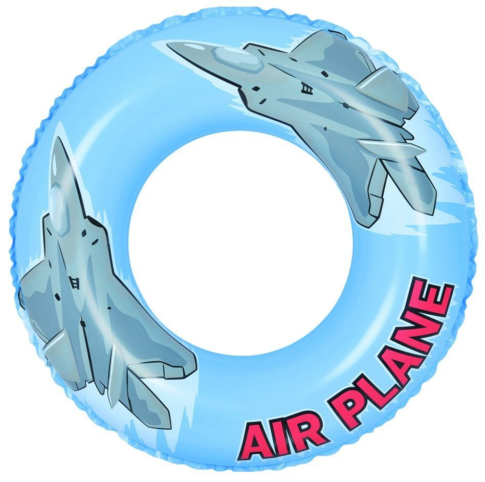 "30"" Blue and Gray Airplane Inflatable Swimming Pool Inner Tube Ring Float"