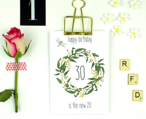 Birthday Card 30 Year Old Ladies Boho Floral By Weareredfoxdesign