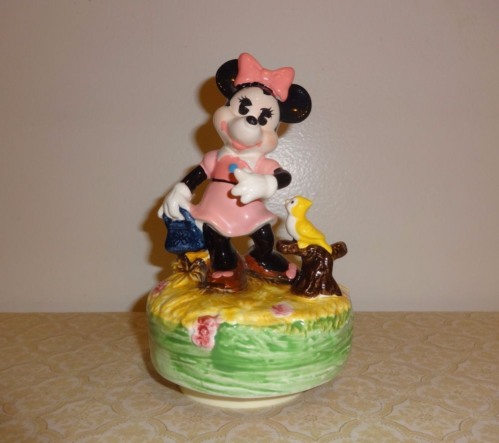 Disney Schmid Minnie Mouse with Bird Music Box with Stand Ceramic