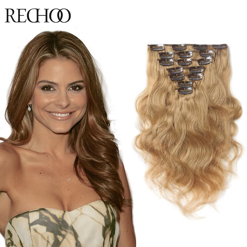 Clip In Real Human Hair Extensions Blonde WomenS Cheap Remi Can