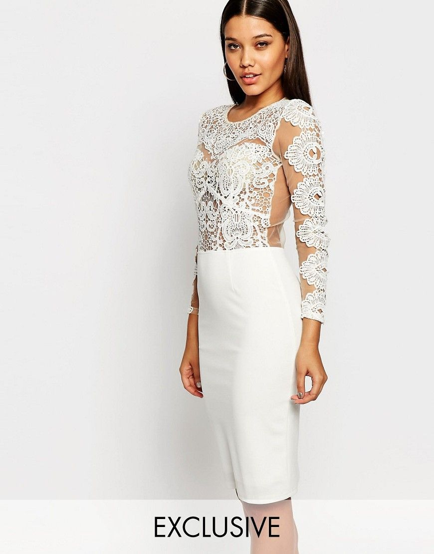 Club L Crochet Lace Bodycon Midi Dress | Say yes to the dress ...