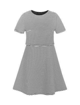Black Stripe Layered Skater Dress New Look Work Wardrobe
