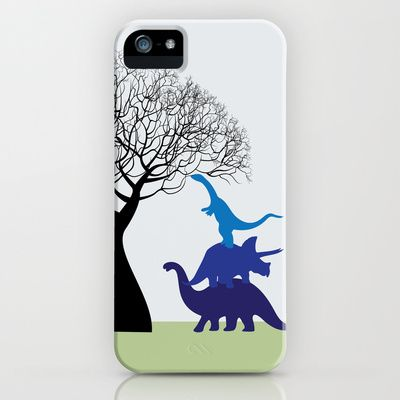 Dinosaur tower iPhone Case by Emma S - $35.00