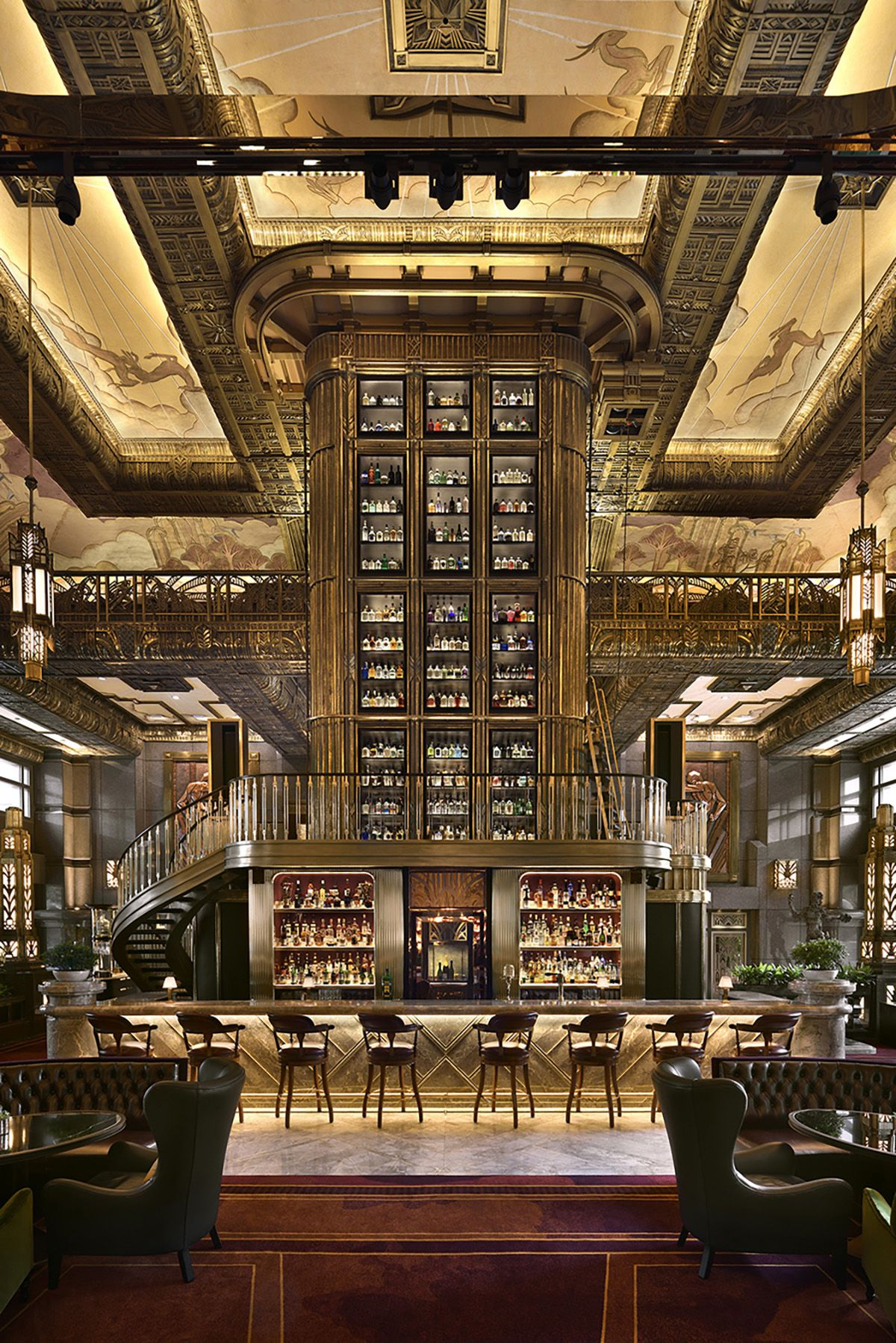 Art Deco-inspired Atlas Bar features a towering central liquor tower ...
