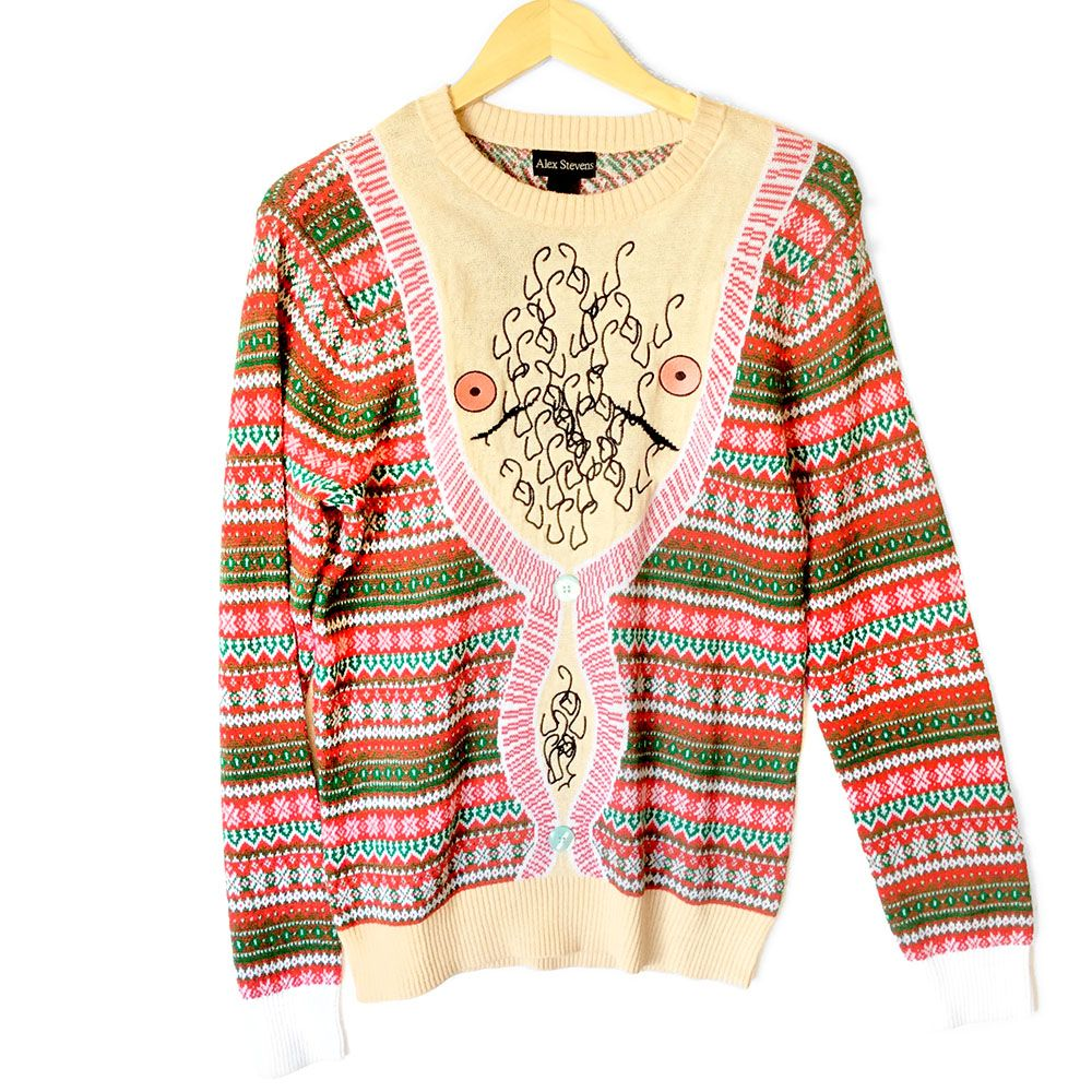 Hairy Chest Is Best Tacky Ugly Christmas Sweater Ugly Christmas
