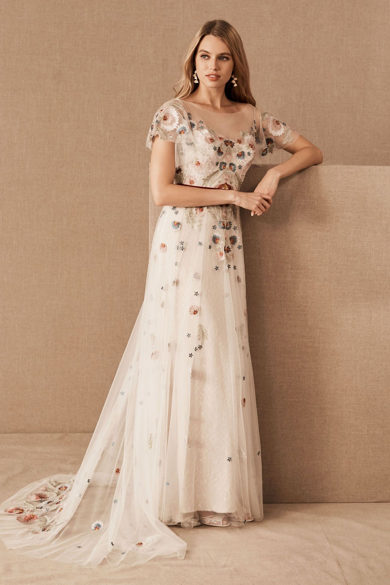 Trending Now The Embroidered Wedding Dress These Colorful Floral Gowns Are Turning Heads Green Wedding Shoes In 2020 Embroidered Wedding Dress Bhldn Wedding Dress Floral Wedding Dress