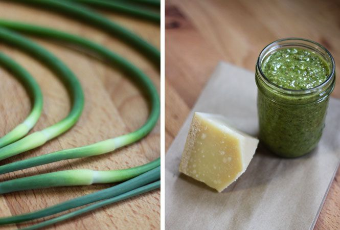 garlic scapepesto,  getting some today from our csa...
