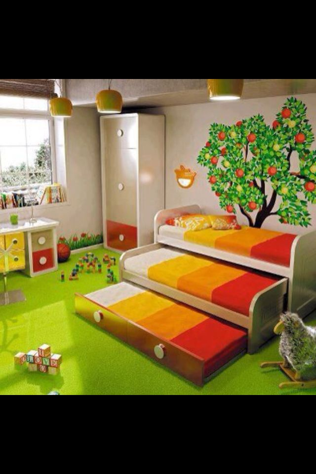 3 Beds In One Trundle Bed Kid Beds Kids Room Bunk Beds