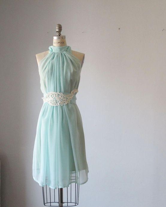 Dress Romantic Bridesmaids Wedding Dreamy Misty  Aqua blue / pale mint green  Soft Heavenly Chiffon