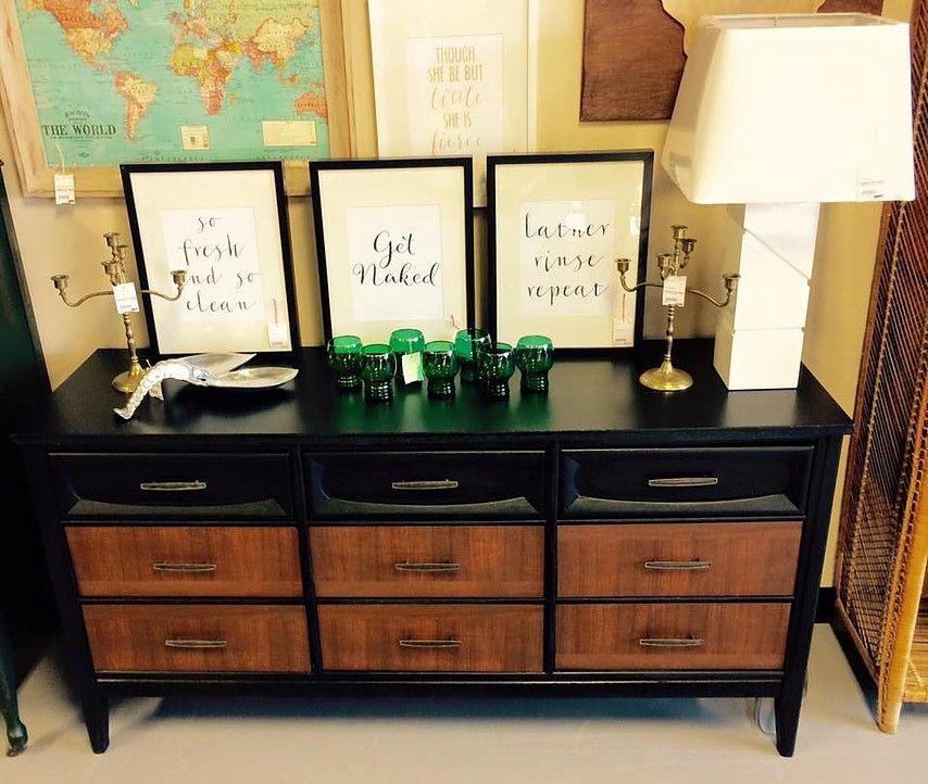 Mid Century Modern Black And Wood Dresser Nursery