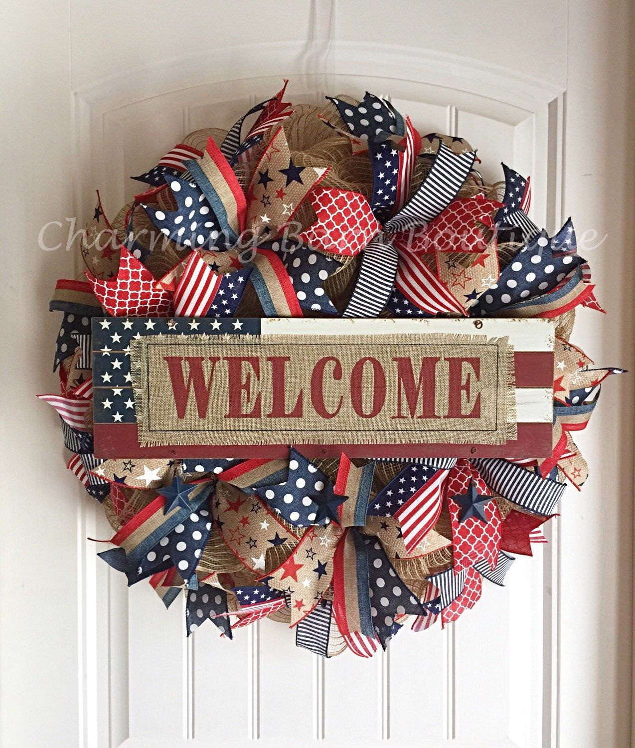 4th of July Wreath, July 4th Wreath, Welcome Wreath, Memorial Day Wreath, Patriotic Wreath, Burlap Wreath, July 4th Decor, Patriotic Decor by CharmingBarnBoutique on Etsy
