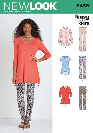 fcfa9ebe9f6cc3 New Look Ladies Easy Sewing Pattern 6439 Just for Knits Tunic Tops    Leggings
