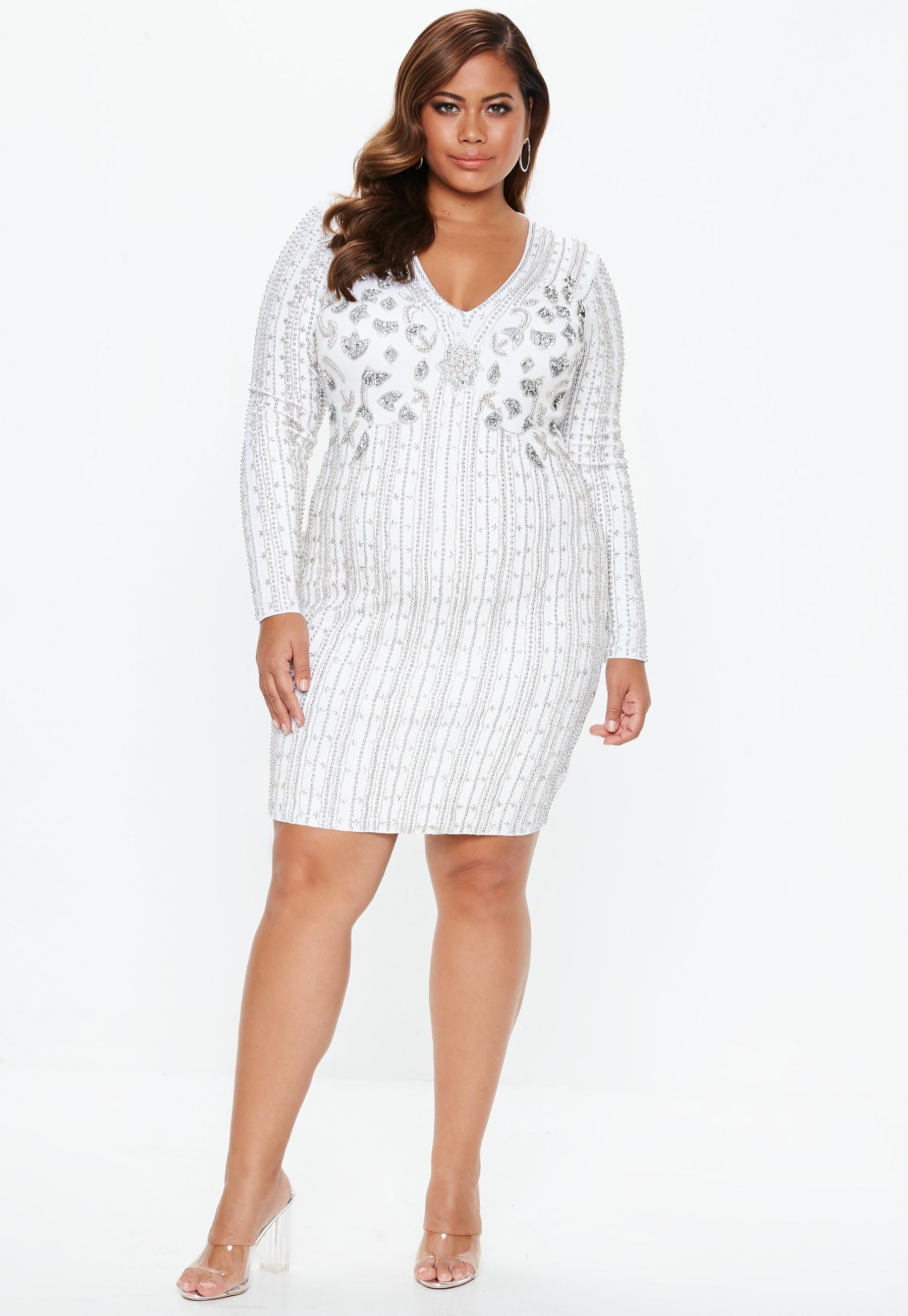 d5f64567c6 Plus Size White Embellished Mini Dress   Missguided   Catherine Li ...