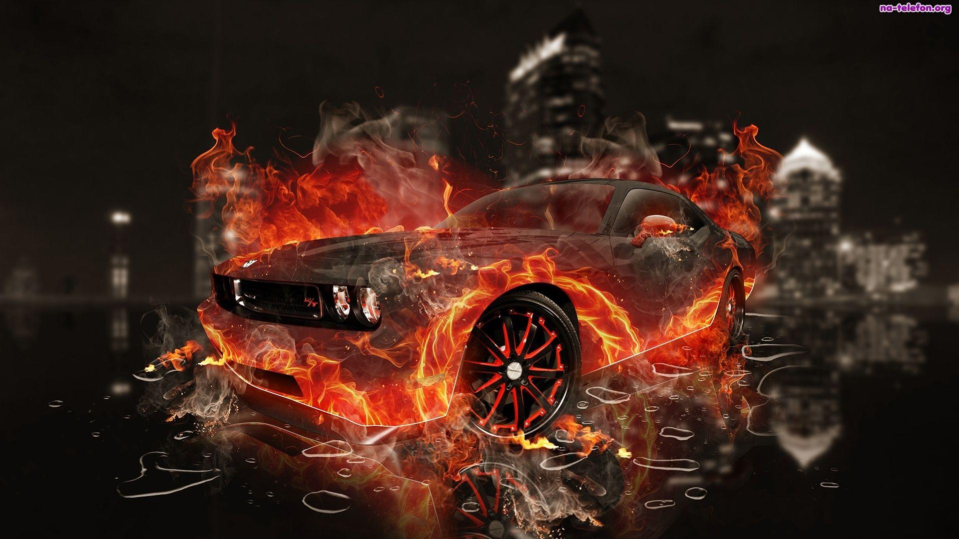 3D, Ogień, Wektorowa, Dodge Challenger