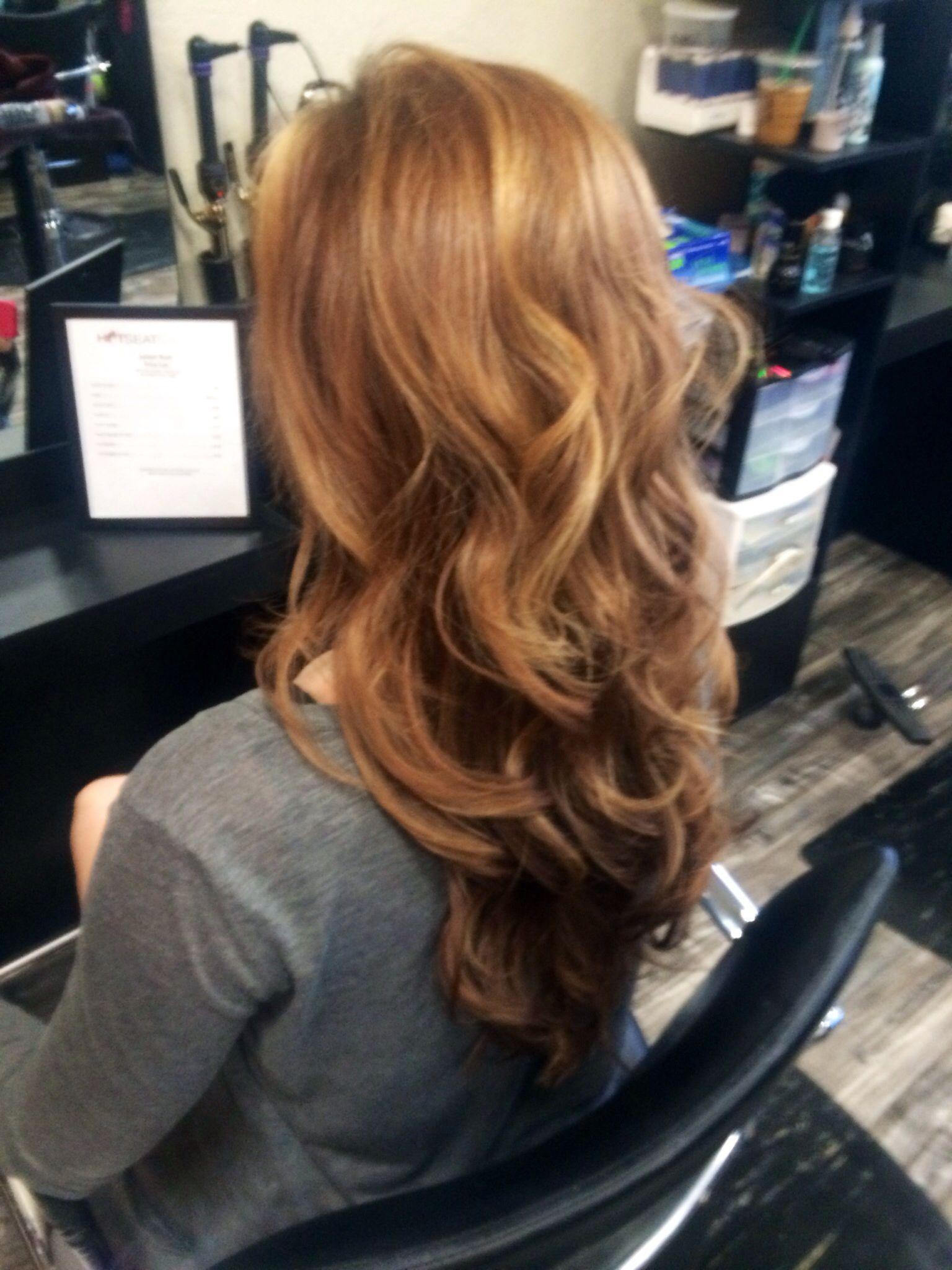 Blush tone hair curls hair color highlights hair by jayleen