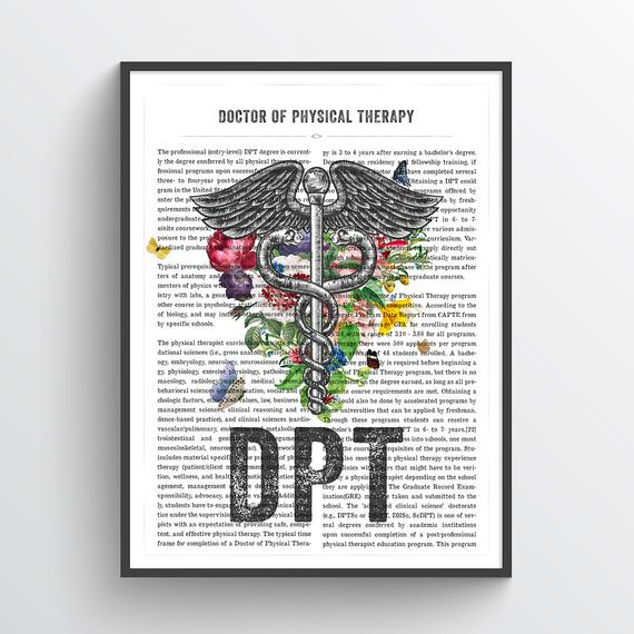 DPT with Flowers Gift, Doctor of Physical Therapy Gift, DPT Graduation, Doctors Office Decor, DPT Graduation Gift, Medical Print