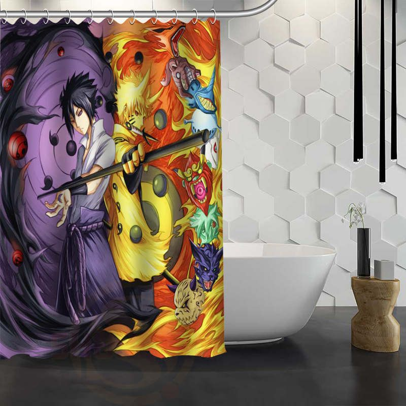 Custom Naruto Anime Shower Curtain Waterproof Fabric Shower