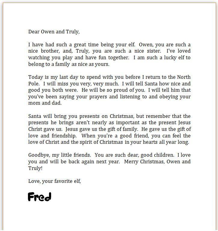 Elf on the Shelf Goodbye Letter Elf on the Shelf Kringle the