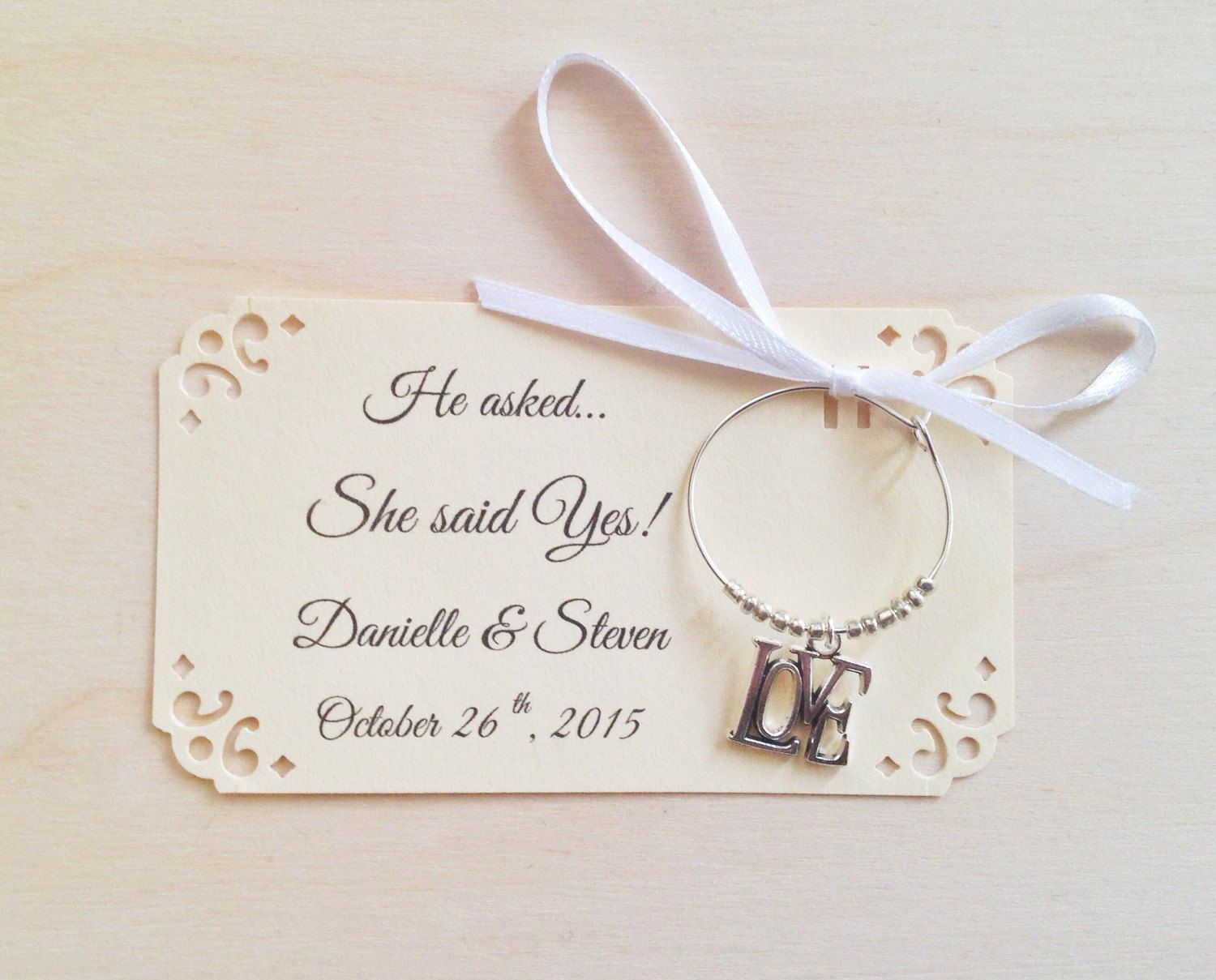 1 to 50 LOVE wine charm favors for She Said Yes! Bridal shower favor ...