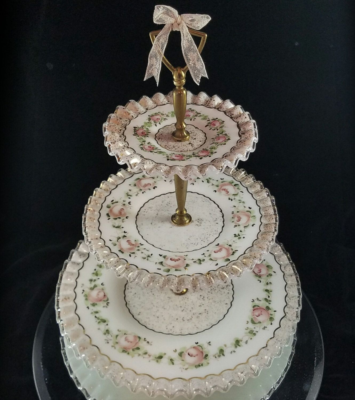 Charletown 3 tier cake plate cake sta nd platter milk glass