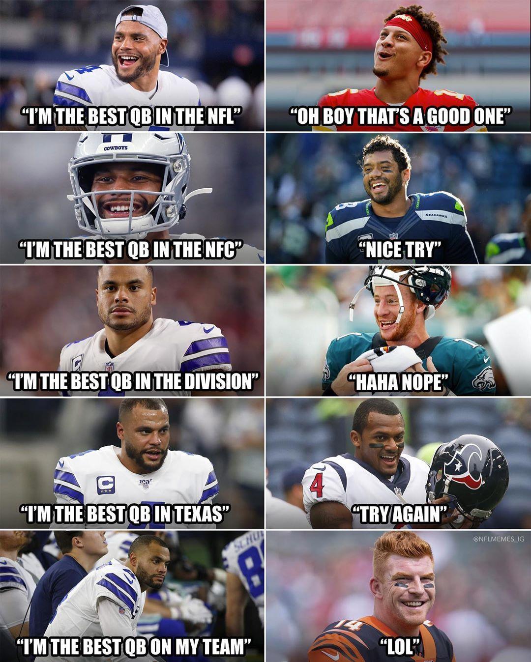 Nfl Memes On Instagram Dak Nflol Ig Nfl Memes Funny Funny Football Memes Nfl Jokes