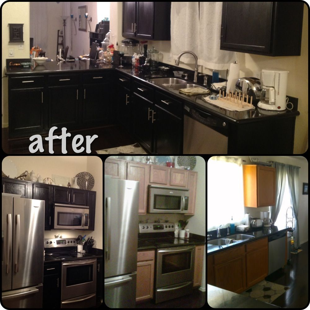 Oak To Black Cabinets With Black Granite Countertops