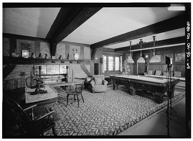 Sala Da Biliardo In Inglese : Billiard room looking north office wing stan hywet hall