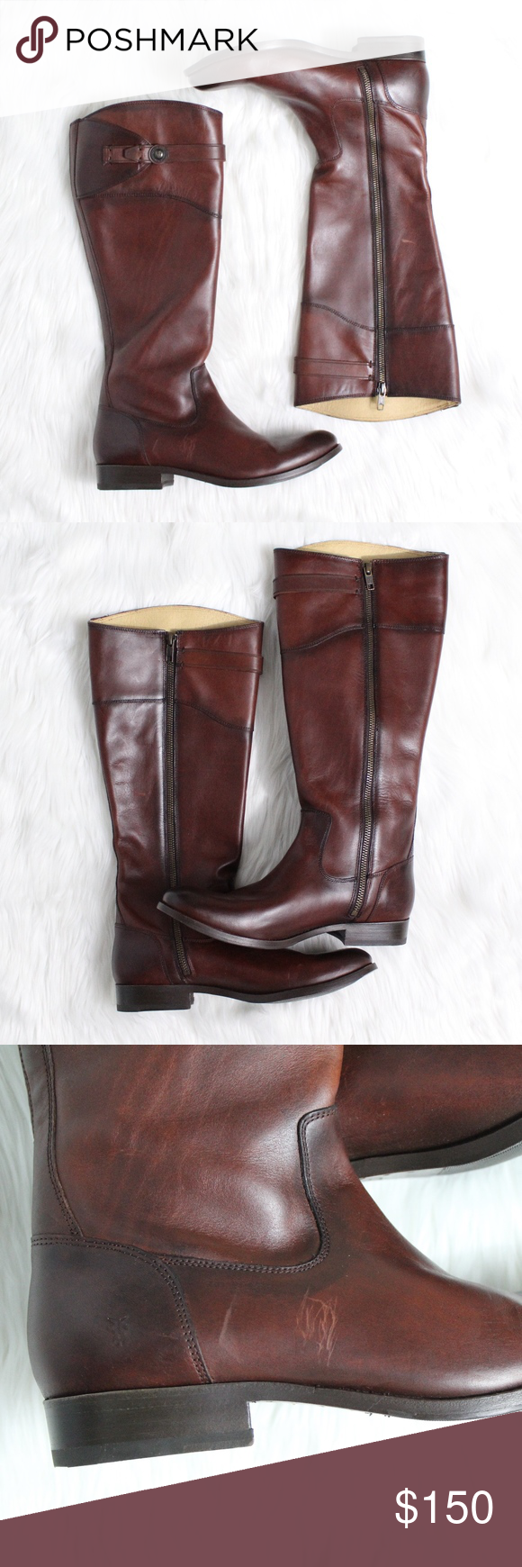 """FRYE Molly Button Riding Boot in Redwood Brand new without box!  Minor scratching on outer side of right boot, see pictures.  Size: 9 Color: Redwood  Superior craftsmanship shines through on a pair of timeless leather riding boots shaped with a rounded toe and finished with a smartly buttoned strap.  1"""" heel. 16 1/4"""" boot shaft; 15 1/2"""" calf circumference. Side zip closure. Leather upper and lining/leather and rubber sole. By Frye; imported. Frye Shoes"""