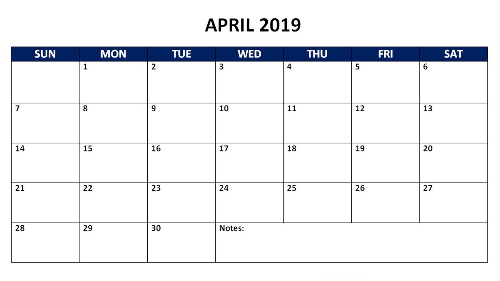 April 2019 Monthly Calendar 2019 Calendars Pinterest Calendar