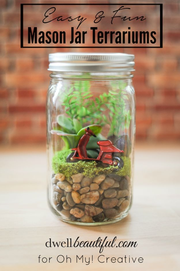 Cute DIY Mason Jar Ideas - Easy DIY Mason Jar Terrarium - Fun Crafts, Creative Room Decor, Homemade Gifts, Creative Home Decor Projects and DIY Mason Jar Lights - Cool Crafts for Teens and Tween Girls http://diyprojectsforteens.com/cute-diy-mason-jar-crafts