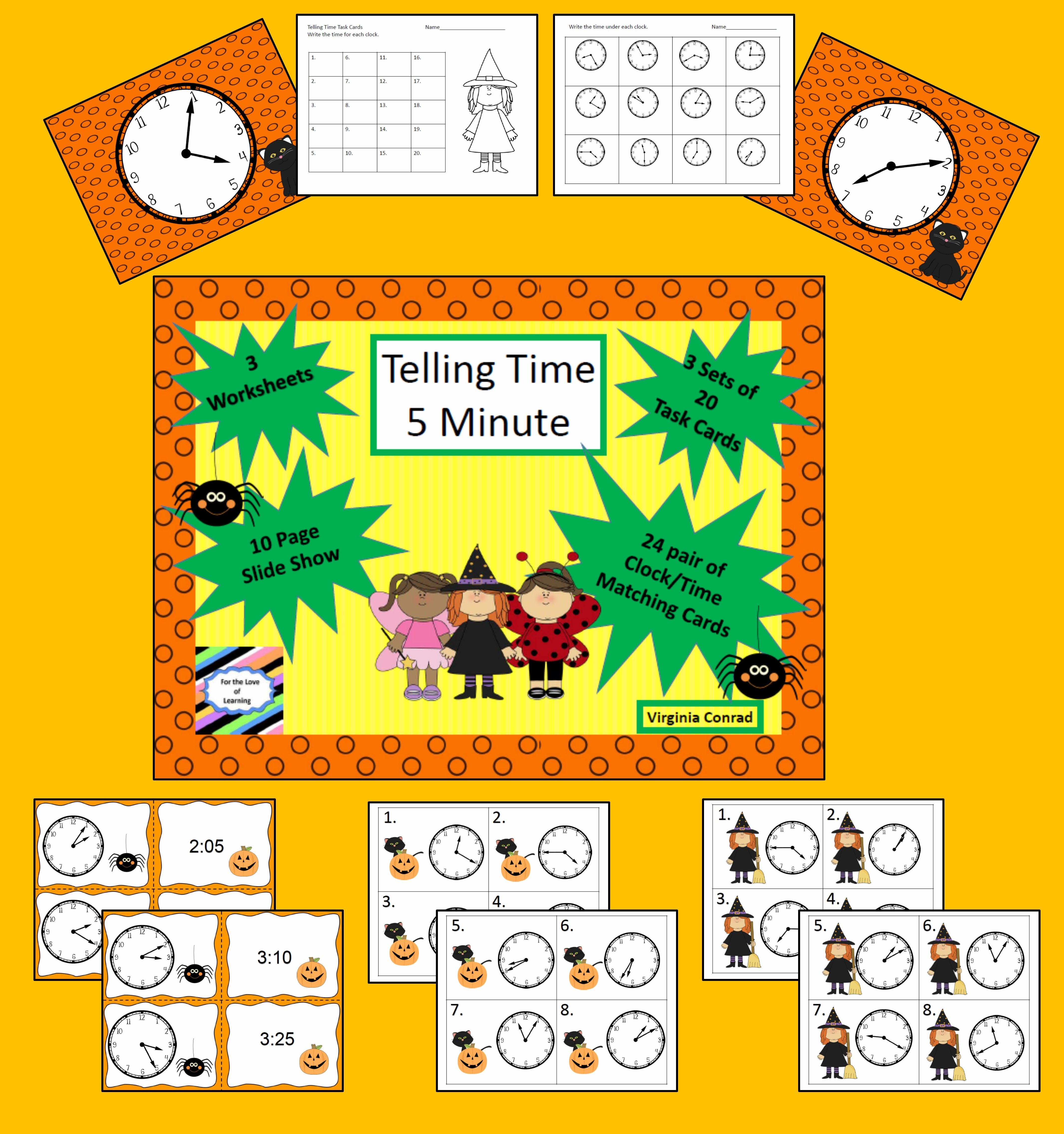 Telling Time 5 Minute Intervals Halloween Theme