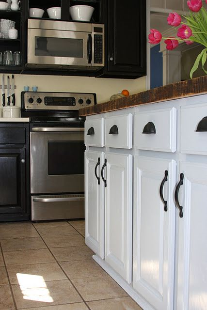 our painted black cabinets kitchen reveal party not really but i got tired of promising you on kitchen cabinets not white id=12609