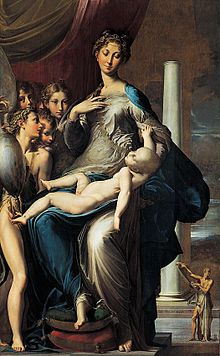 Parmigianino. La Madona del cuello largo, 1535-1540, óleo sobre tabla, 214 X 133 cm, Galería de los Uffizi, Florencia - Wikipedia, la enciclopedia libre